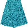 Ткань 100% шнурка гипюра высокого качества вышивки шнурка зеленого цвета Teal конструкции полиэфира обыкновенная толком для платья