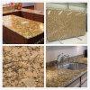 Partie supérieure du comptoir de granit d'or de partie supérieure du comptoir de granit du Brésil Giallo Fiorito avec Backsplash