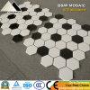 Azulejo de cerámica blanco del material de construcción y negro hexagonal del suelo y de la pared de mosaico