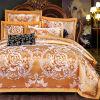 形態上のジャカードSize 4PCSリネン羽毛布団カバーシーツを含む2016年の結婚の寝具セットの印刷の女王王