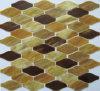 Brown & telha de vidro do mosaico da arte oval