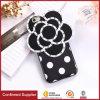 Cas mou de téléphone mobile de fleur de camélia des silicones 3D de diamant de Bling de mode