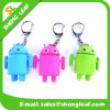 Thress colore o OEM de borracha de Keychain Keychains Mic do homem do Saucer