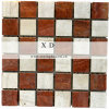えんじ色の組合せの白い砥石で研がれた大理石の壁のモザイク(XD-M083)