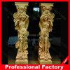 La escultura de mármol naturales de la columna romana para la construcción