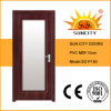 PVC populaire de Wooden Main Bathroom Door avec Glass Price (SC-P150)
