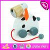 2015 New Kid Cute Wooden Dog Pull Line Brinquedo, Design de animais Brinquedo de madeira para crianças, puxão de madeira e empurrar brinquedos para crianças W05b095