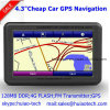 Barato venta de la fábrica 4.3 coche Portablet Satnavi navegador GPS incorporado Bluetooth de la ayuda 128 MB de RAM de 8 GB Flash, ISDB-T; AV-in para la cámara trasera de estacionamiento; navegación GPS