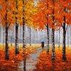 ألومنيوم لوح فنّ صورة زيتيّة لأنّ أشجار