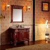 Gabinete de banheiro vermelho clássico da cereja com a bacia de pedra natural