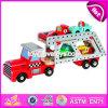 De nieuwe Vrachtwagens en de Aanhangwagens van het Stuk speelgoed van de Kinderen van het Ontwerp Grappige Houten met 4 Kleine Auto's W04A339