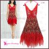 Сексуальное красное вышитый бисером платье коктеила шнурка (HE00L48)