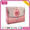 Bolso de compras blanco cosmético promocional del papel de la tarjeta de la manera rosada de Rose