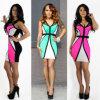 Bodycon V-Stutzen der Frauen Sleeveless reizvolles kurzes Verein-Kleid
