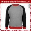 Manchon de Raglan gris personnalisé femmes Crewneck Sweatshirt avec poches (ELTSTJ-762)