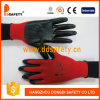 Ddsafety 2017 Rouge jauge 13 Nylon ou polyester Shell Revêtement nitrile noir finition lisse
