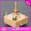 Melhor Design Torre Eiffel Shape Wooden Antique Music Box W07b042
