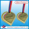 Metallo Medallion Hear Shape Antique Gold con Color Enamel