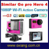 Dual 2 Screeen Similares Go PRO Hero 4 Ultraslim 30 Metros Waterproof Digital Action Sport Camera (OX-G3)