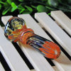 Tubo de vidro do tubo de água de vidro com listra coloridas do tubo do lado do tabaco tubo colher de vidro