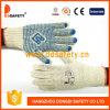 Les gants 2017 de coton de Ddsafety avec le PVC bleu pointille un côté