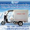 Mini carro refrigerado eléctrico, transportador de cadena frío eléctrico de tres ruedas
