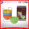 Ciotola accatastabile di ceramica della glassa all'ingrosso di colore con la cremagliera del metallo