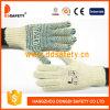 Le coton 2017 de Ddsafety avec le PVC bleu de Knit de chaîne de caractères de polyester pointille des gants
