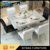 Таблица самомоднейшей домашней нержавеющей стали мебели мраморный обедая