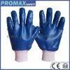 Тонкий трикотаж джерси на запястье синий гильзы нитриловые перчатки с сертификат CE с покрытием в полной мере