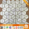 Paralleltrapez-weißes Glas-und Marmor-Mosaik für Wand (M855143)
