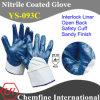 Блокировка вещевого ящика с синими нитриловые песчаным покрытием для рук и открытая сзади и безопасность манжеты/ EN388: 4221 (YS-093C)