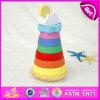 2015 Montessori Toy de Ensino de Madeira Rainbow Tower, Educational Stack Rings Intelligence Toys, Preschool Baby Stacking Toys W13D081