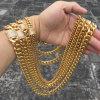 Collier cubain de chaîne de tige d'or d'agrafe de diamant pour les hommes