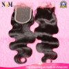 自由な部分の中間の部品3部のブラジルのバージンの毛の閉鎖の部分