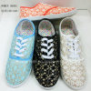 Nieuwe Stijl de Schoenen van Dame Flat Shoes Women Injection Doek (1010-23)