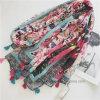 Retro sciarpa delle donne del poliestere stampata Flourish variopinto con le nappe (HP01)