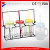 16oz Drinking Glass Mason Jar con Handle Straw e Tin Lid Metal Stand
