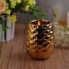Vaso di ceramica della candela di ultima placcatura dorata
