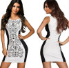 Сексуальное Bodycon женщин Slimming платье MIDI коктеила шкафута черное