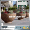 Античные Polished желтые каменные цветочный горшок/ваза для украшения сада/проекта ландшафта