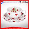Tazza e piattino di tè di ceramica all'ingrosso 240ml con la decalcomania del fiore