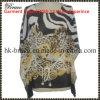 Douille d'aile chauve-souris tricotée par cou rond d'impression de léopard de Digitals du T-shirt de Ladie (GW195)