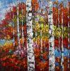 Pitture a olio Handmade dell'albero di betulla di Multi-Colori per la decorazione domestica