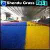 Cor azul da grama artificial para a paisagem ao ar livre