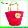 Wheat hermoso Straw Handbag con Flower