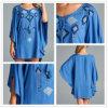 Robe bleue gitane brodée ethnique de Boho de douille supérieure d'aile chauve-souris de tunique de Jodifl