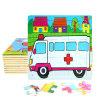 Do enigma quente direto do frame de madeira dos desenhos animados da fábrica ambulância educacional dos brinquedos 3D DIY Chindlren