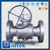 Didtek forjó la vávula de bola asentada metal reducida muñón del alesaje 6*4  con el engranaje de gusano