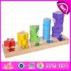 Forma de torre de arco-íris de madeira Blocos de classificação geométrica, brinquedos para educação Formas geométricas de madeira Blocos para Contagem de Aprendizagem W13D093